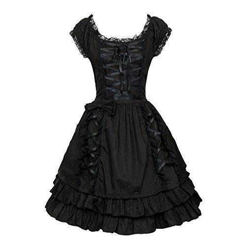 Nofonda Frauen Klassisch Schwarz Gothic Kostüm Cosplay Lolita Kostüm Abendkleid Layered Lace-Up Kurzarm Kleid (L)