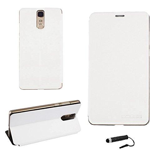 Ycloud Tasche für Doogee Y6 MAX Hülle, PU Ledertasche Metal Smartphone Flip Cover Hülle Handyhülle mit Stand Function Weiß