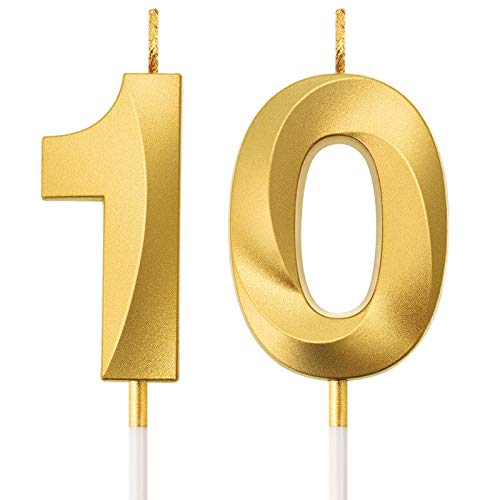 BBTO 10th Birthday Candles Cake Numeral Candles Happy Birthday Cake Topper Decoration for Birthday Party Wedding Anniversary Celebration Supplies (Gold)