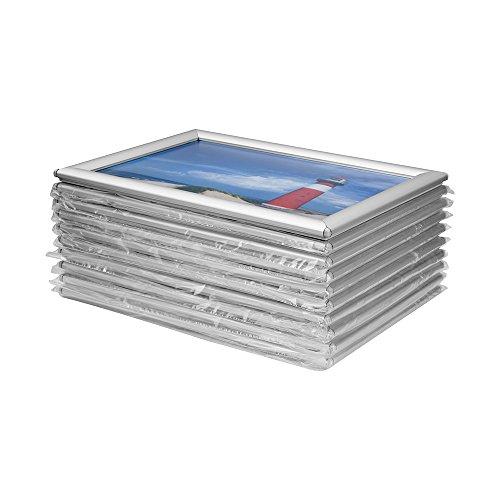 VKF Renzel GmbH Vorteilspack 10 x Bilderrahmen Klapprahmen aus Aluminium/Kunststoff im Set - DIN A4 - Geschenkidee für Familien - für Portraitsammlung - Fanposter - UVM.