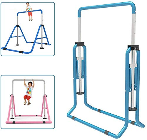 SHIOUCY Horizontal Bar Gymnastics Kids Garden Reck Stretching Gym Turnstiles Training Equipment Outdoor Fitness Height Adjustable Boy and Girl (Blue)
