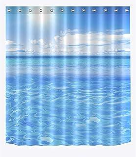 涼しい夏の海の青い海水シャワーカーテン用浴室、ビーチシーサイドテーマの装飾カーテン、生地のシャワーカーテン防水 180x180cm