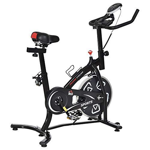 HOMCOM Vélo d'appartement Cardio vélo Biking écran Multifonction Selle et Guidon réglable Noir