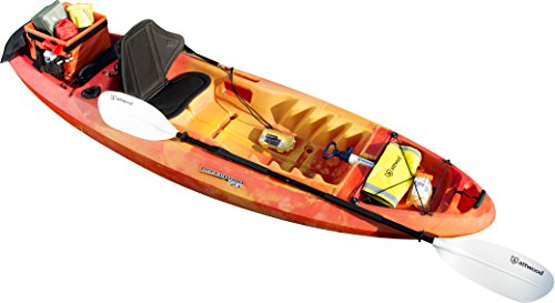 attwood 11768-2 Asymmetrical 2-Piece Heavy-Duty Kayak Paddle with Comfort Grips 7-Feet 3 Thick aluminum and rugged plastic construction for durable performance Two-piece breakdown design is ideal for both storage and transport Drip rings for added comfort; they prevent water from sliding onto your grip