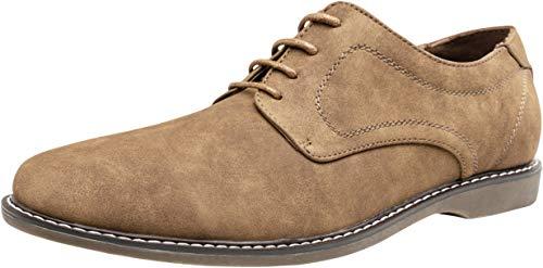 JOUSEN Men's Dress Shoes Plain Toe Suede Oxfords Lightweight Formal Shoes Classic Business Derby Shoes (10,Brown)