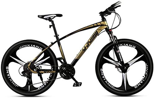 HCMNME Durable Bicycle, 24 inch Mountain Bike Male and Female Adult Ultralight Racing Light Bicycle tri-Cutter Alloy Frame with Disc Brakes (Color : Black Gold, Size : 27 Speed)