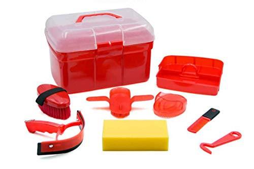 AMKA Putzbox für Kinder Putzkasten - Putzkoffer gefüllt 7 Teile (rot)