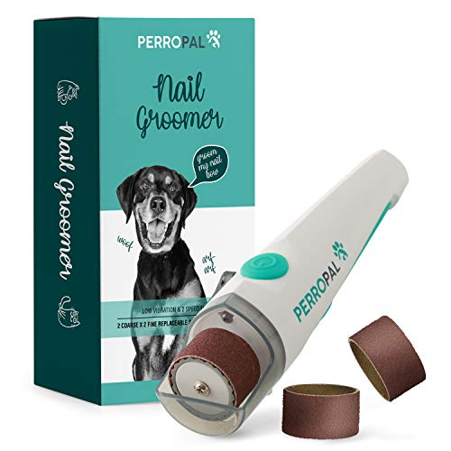 PERROPAL Pet Nail Groomer  Dog Nail Grinder with LED | Electric Nail File for Pets | Quiet Dog Nail Trimmers | Nail Grinder for Dog Grooming | Dog and Cat Nail Clipper | Electric Grinder for Nails