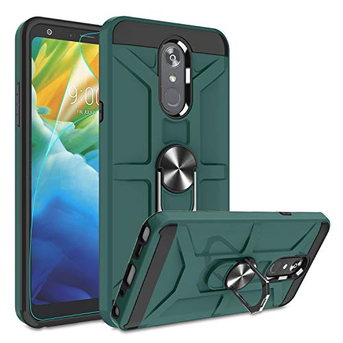 LG Stylo 4 Case, LG Stylo 4 Phone Case with HD Screen Protector, Atump 360°Rotation Ring Holder Kickstand [Work with Magnetic Car Mount] PC+ TPU Phone Case for LG Stylo 4, Midnight Green