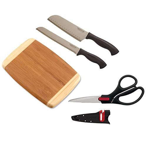 "8"" Farberware Steel Bread Knife, 5"" Japanese Steel Santoku Knife, Bent Shears with Sharpening Sleeve and 13""x9.5"" Bamboo Cutting Board"
