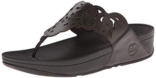 FitFlop Women's Flora Flip Flop,Black,9 M US