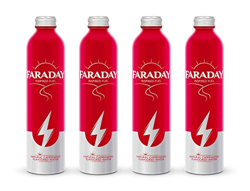 Faraday: 100% Natural Still Energy Drink, Raspberry Rose Caffeinated Flavoured Water - Resealable aluminium bottle great for the office, cycling, hiking and gym - 4 x 320ml bottles