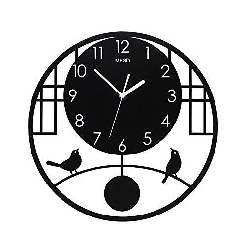 MIEDGZ Reloj de Pared,Acrílico Mudo Chino Reloj de Pared de Cuarzo,Montado en la Pared Estereoscópico Hueco Reja de Ventana Desmontable Péndulo Casa Wall Clock, Durable/Negro / 480x480mm