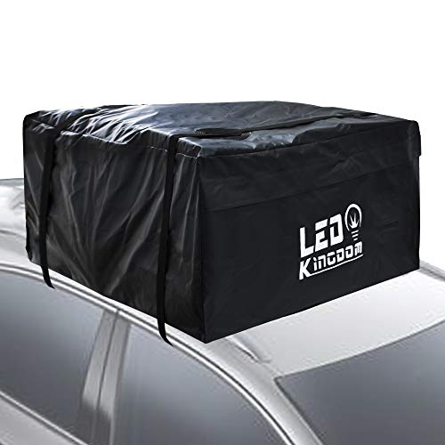 LED Kingdomus Car Roof Bag, Waterproof Cargo Top Storage Bag, 15 Cubic Feet Heavy Duty Rooftop Bag Vehicle Soft Shell Carrier Bag (15 Cubic Feet Fits All Cars Without Roof Rack)