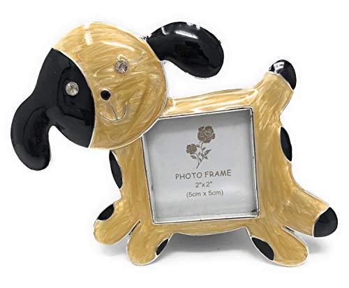 Kubla Crafts - Marco de Fotos esmaltado con Forma de Perro, para Fotos de 5 cm de Ancho x 5 cm de Alto, Acentuado con Cristales austriacos