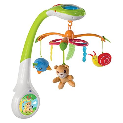 Chicco Mobile Projecteur de la forêt Musical pour Lit Bébé avec Projecteur Lumineux, Boîte Musical et Veilleuse, avec 3 Jouets en Peluche Amovibles, pour Enfants dès la Naissance