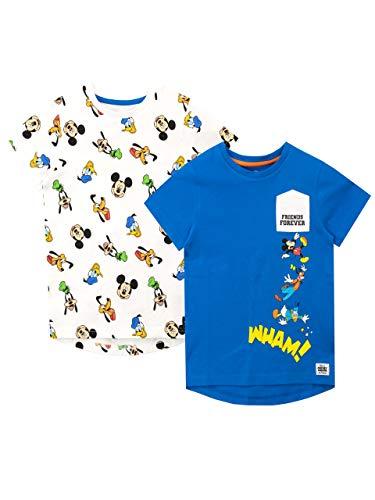 Disney Jungen Mickey Mouse T-Shirt Packung mit 2 Stück Mehrfarbig 110