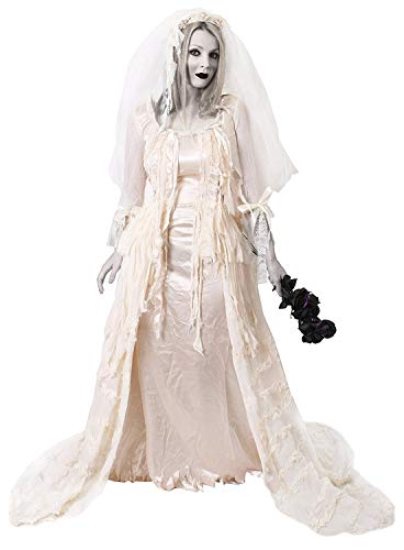 I LOVE FANCY DRESS LTD Disfraz DE Novia Fantasma SEÑORA HAVISHAM Vestido Blanco con Efectos Rasgados Y Pieza DE Cabeza Halloween(XL)