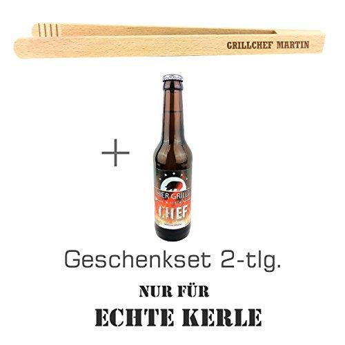 """Geschenkset 2-tlg. """"Nur für echte Kerle"""" mit Bier """"Hier grillt der Chef"""" und Grillzange mit Namens-Gravur \""""Grillchef + Martin\"""" / Geburtstagsgeschenk / kreatives Geschenk / Männer / Grillen"""