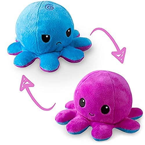 TeeTurtle   The Original Reversible Octopus Plushie   Patented Design   Blue + Purple   Happy + Angry   Show your mood without saying a word!