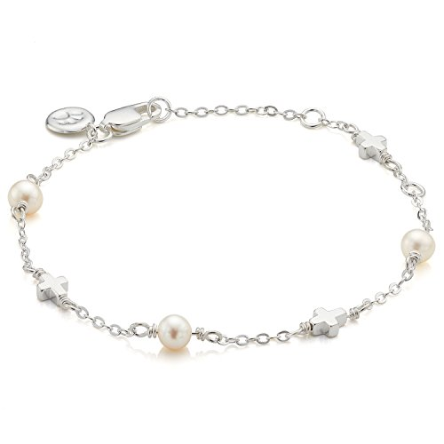 Molly B London Sterling Silver Freshwater Pearl & Cross Bracelet - First Communion Jewelry & Baby Baptism Gift