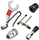 Linseray 5 Piezas Juego de Herramientas de reparación de MTB para Bicicletas de Bicicleta de montaña, Removedor de Soporte Inferior + Interruptor de Cadena de Bicicleta + Extractor de manivela