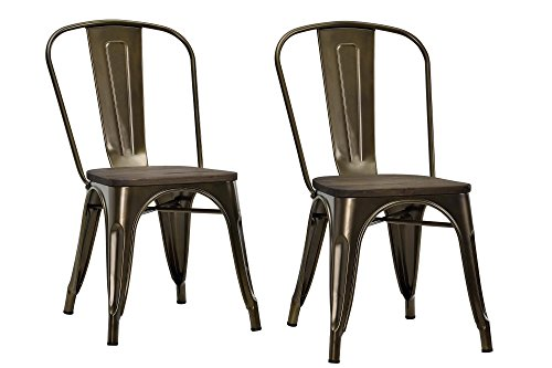DHP Fusion Metal Dining Chair with Wood Seat, Distressed Metal Finish for Industrial Appeal, Set of two, Bronze