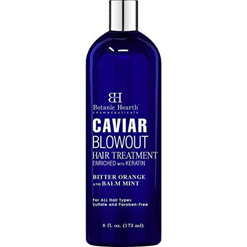 BOTANIC HEARTH Caviar Corrective Blowout Hair Treatment - Keratin Enriched Heat Activated Anti Frizz Smoothing Formula - 8 fl oz