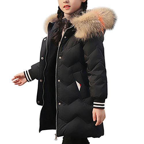 LSERVER Fille Enfant Faux Fourrure Manteau Hiver Manches Longues Veste Épaissi Doudoune à Capuche, Noir, 12-14 Ans / 160