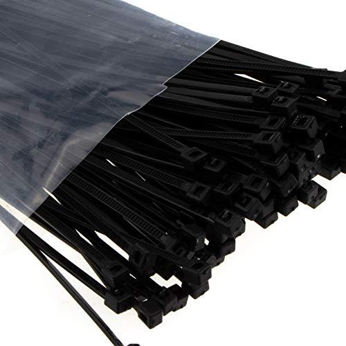 enTie Schwarz Kabel Kabelbinder 2,5 mm x 200 mm Nylon 66 UL Zertifiziert [100 Stück] [200mm x 2,5mm]
