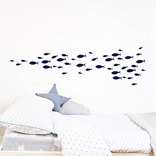 77Pieces Set Fish Wall Decal,Removable Vinyl Stickers for Kids Baby Bedroom, Bathroom,Nursery Decoration A05 (Blue)