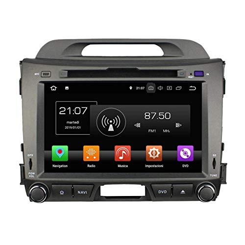 Android 8.0 Autoradio Navigazione GPS per Kia Sportage(2010-2015), 8 Pollici Touchscreen Lettore DVD Radio Bluetooth