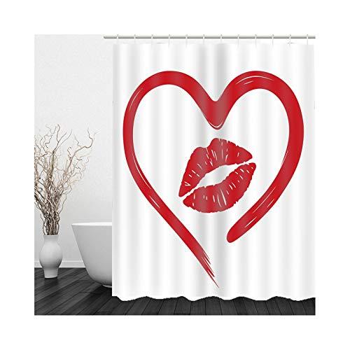 KnSam Duschvorhang, Herzförmiger Lippendruck Badewanne Vorhan Polyester Badvorhang Für Fenster Badezimmer Dekoration Zum Hängen Duschvorhänge 71X71Inch
