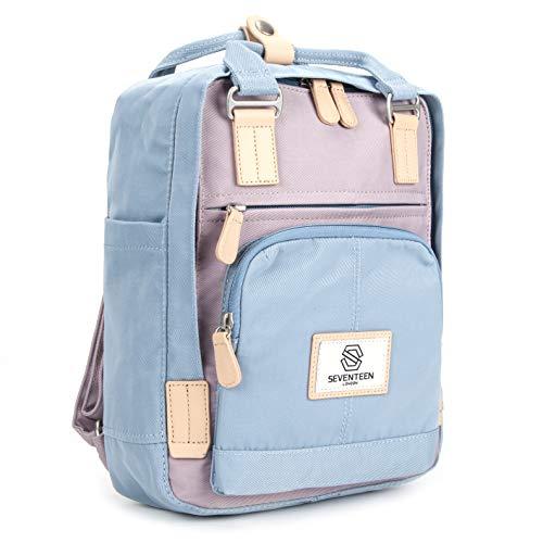 SEVENTEEN LONDON – Moderner, einfacher und Unisex 'Hackney Mini' Rucksack in hellblau & lila mit einem klassischen Design im Skandi-Stil – perfekt für Tablets