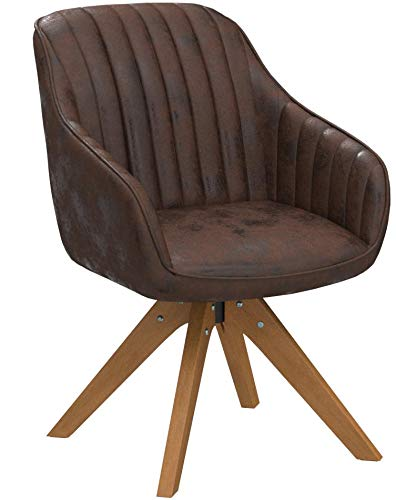 Art Leon Mid-Century Modern Swivel Accent Chair Brown with Wood Legs Armchair for Home Office Study Living Room Vanity Bedroom