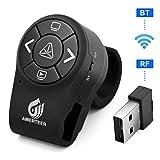 AMERTEER Bluetooth Wireless Presenter, RF 2.4GHz Presentation Clicker, Finger Ring Remote PowerPoint PPT Slides Rechargeable