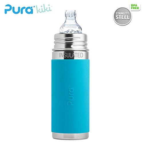 Pura Kiki ISO-Flasche - 250ml - XL Trinklernaufsatz (inkl. Schutzkappe) Pura ISO 250ml XL Trinklernsauger/Blau