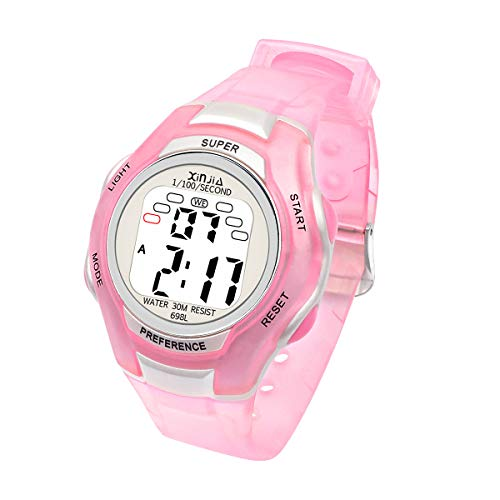 Jungen Digitaluhren, Mädchen Uhr Kinderehr Jungenuhr Wasserdicht Sportuhren Digital Armbanduhr mit LED-Licht Wecker/Stoppuhr, Datum & Woche Kalender für Sport Outdoor (Rosa)