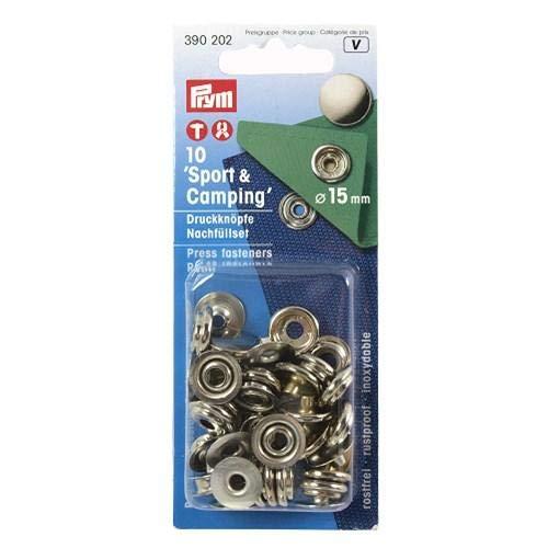 Prym 390202-Recambio para botón de presión sin Costuras, Color Plateado, Metal, 15 mm