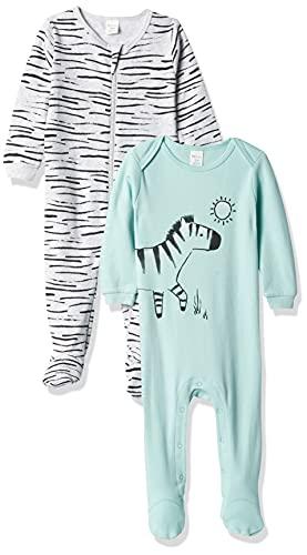 Petit Lem Boys' PL Sleep Baby 2Pk Sleeper Knit, 606 Lt.Turquoise, 3M