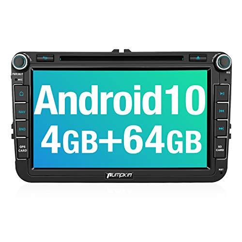 PUMPKIN Android 10 Autoradio für VW Radio mit Navi 4GB+64GB PX6 Unterstützt Bluetooth DAB + Android Auto CD DVD WiFi 4G USB MicroSD 8 Zoll IPS Bildschrim