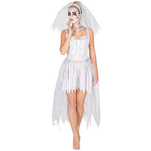 TecTake dressforfun Aufwendiges Zombie Braut Skelett Brautkleid Damen Kostüm inkl. Schleier mit Tüll und Blumen (M | Nr. 300059)