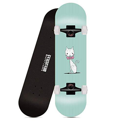 Kinder Vierrädriges Skateboard, professionelles Maple Double Rocker Board Skateboards für Teenager Anfänger Mädchen Jungen Kinder, Fliege Katze