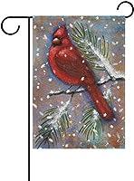 フラッグ 赤い枢機卿クリスマスホリデー冬雪モミの木の庭の旗バナー屋外の家の庭の植木鉢の装飾のための 30 x 45cm