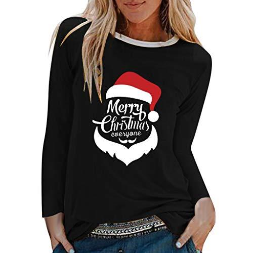 Supertong Langarmshirt Pullover Damen Weihnachtspullover Beiläufige Brief Print Weihnachtsmütze Muster Weihnachtspulli Tunika Tops Herbst Winter Rundhals T-Shirt Bluse Weihnachten Festival Oberteile