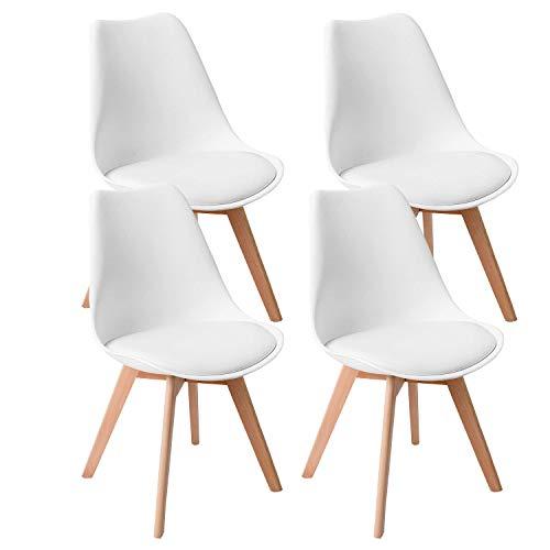 WAFTING 4er Set Esszimmerstühle Gepolsterter Seitenstuhl mit Buchenholz-Beinen und Weich Gepolsterte Tulip Chair für Esszimmer Wohnzimmer Schlafzimmer Küche, 4er Set(gepolstert weiß) …