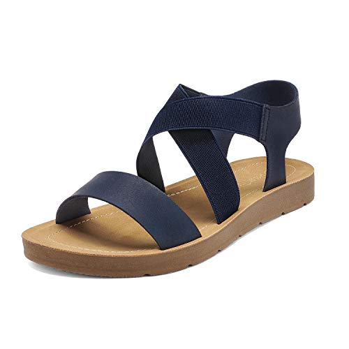 DREAM PAIRS Women's Navy Open Toe Elastic Ankle Strap Flat Summer Sandals 8 M US Elena-2