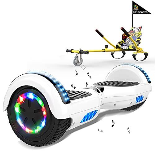 """MARKBOARD Hoverboards Go Kart, Scooter eléctrico autoequilibrado de 6.5"""", con Luces LED y Altavoz Bluetooth, hoverboards con Motor de 2x350W, con Asiento de Kart para niños y Adolescentes"""