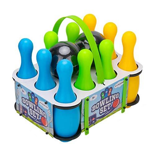perfeclan Juego de Bolas de Bolos de plástico Multicolor para niños en Edad Preescolar Juguete de niños de 3 4 5 6 años de Edad - 10 Pin 22cm B