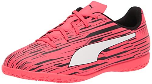 PUMA RAPIDO 3 IT Soccer Shoe, Sunblaze White Black, 5 US Unisex Big Kid
